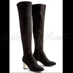 BNIB Black Faux Suede OTK Boots with Gold Heels